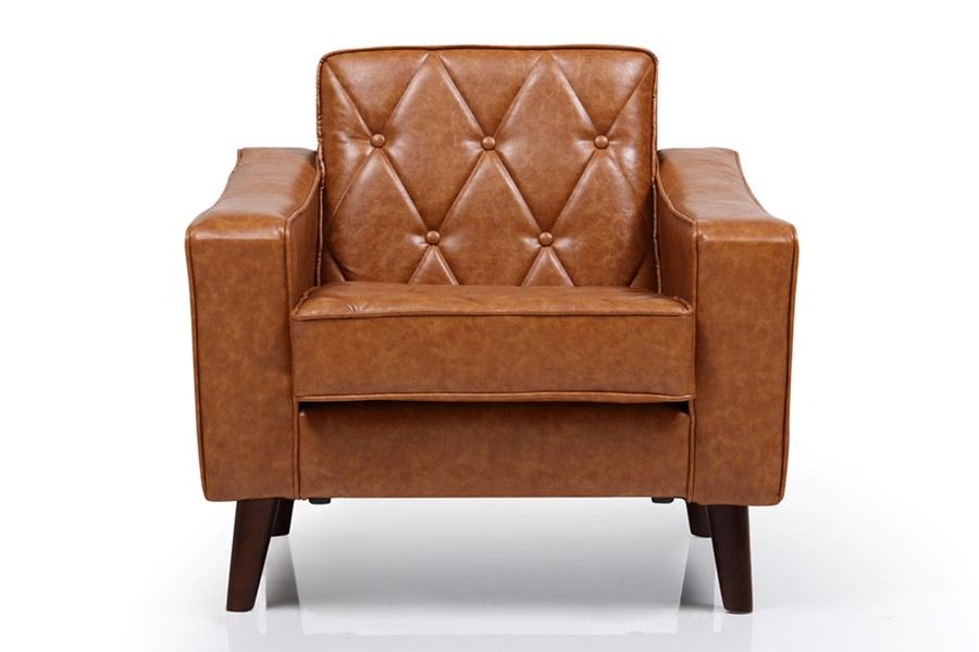Brown Vintage PU Leather One Seater