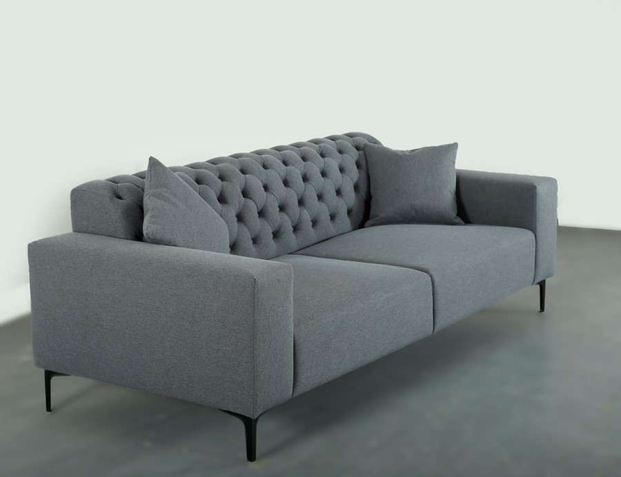 Chesterfield Inspired Design Grey 3  Seater Sofa The Morden Classic