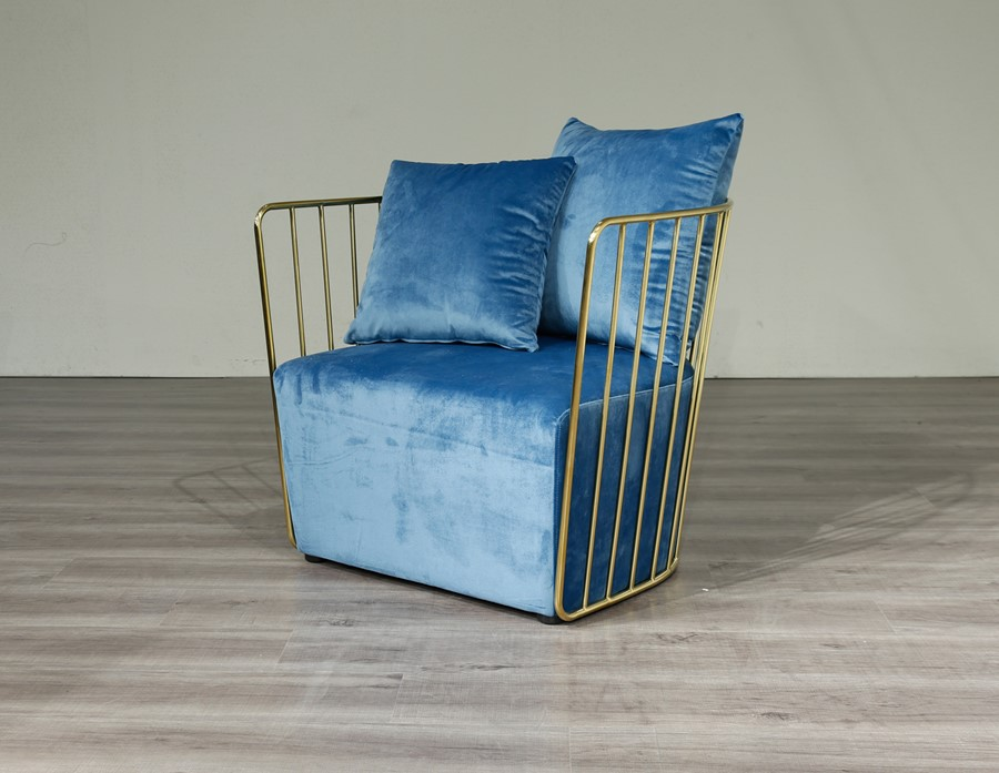 Gold Round Frame & Blue Velvet  Arm Chair Accent Chair