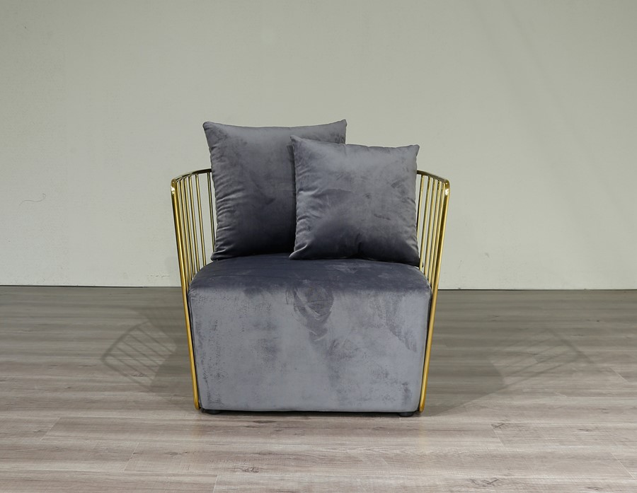Gold Round Frame &  Grey Velvet Arm Chair Accent Chair