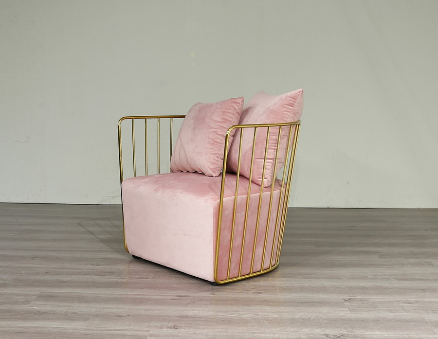 Gold Round Frame &  Baby Pink Velvet Arm Chair Accent Chair