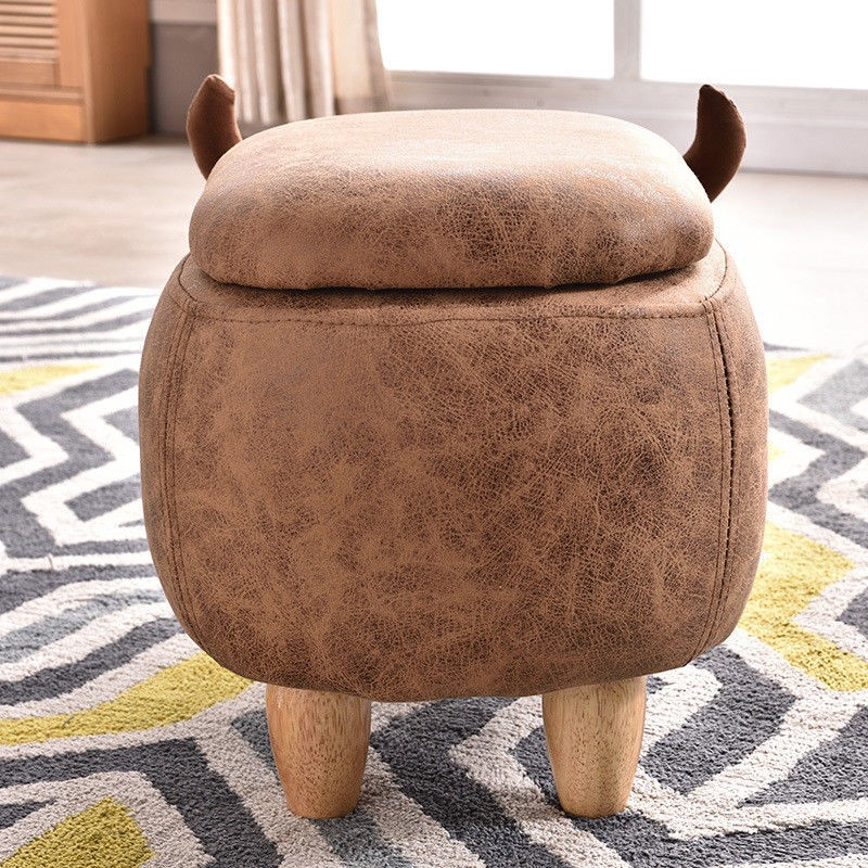 Animal Foot Stool & Storage Bull Faux Leather Choice of Animals