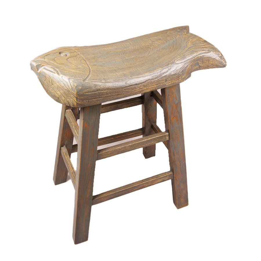 Chinese Oriental Solid Wood Fish Shape Stool Kitchen Dinning Stool Decor Grey