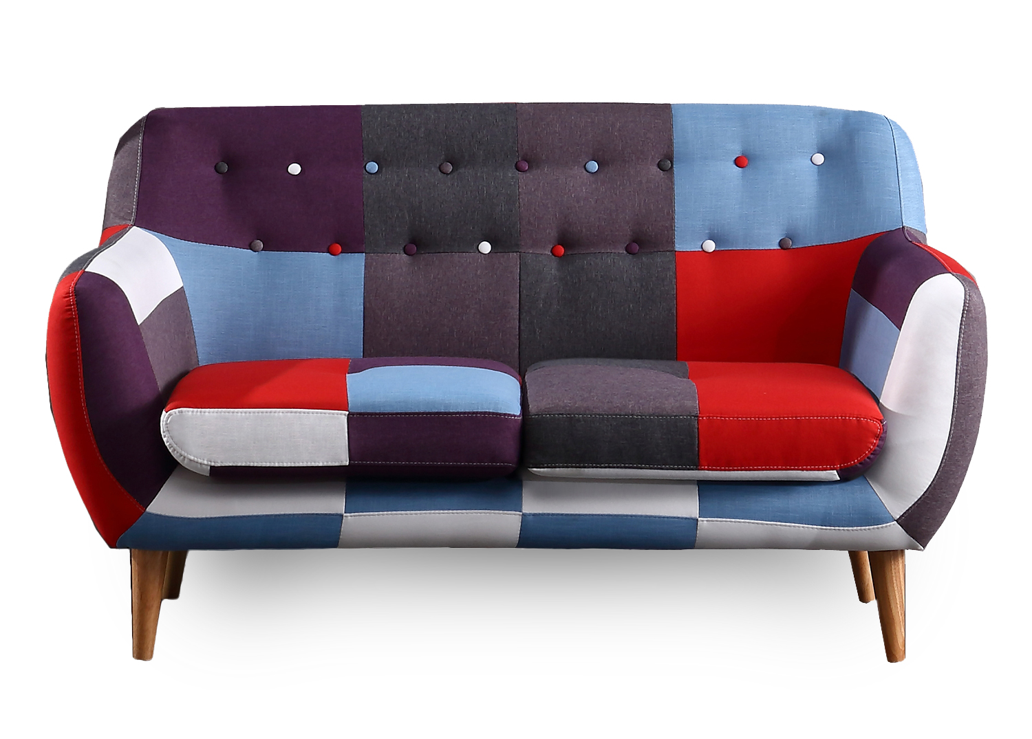 2 Seater Multi Coloured Patchwork Sofa - Ideal for small space living