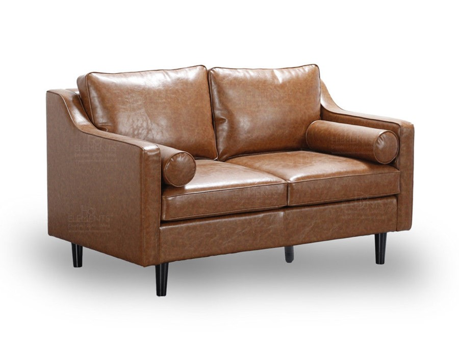 Scandinavian Retro Style Tan 2 Seater Sofa Premium Quality PU