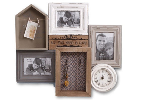 Photo Frame Set With Clock